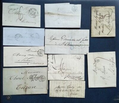 T199.  FRANCE. LOT 10 lettres anciennes 1814 / 1852 environ. STOCKSTAMPS