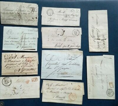 T201.  FRANCE. LOT 10 lettres anciennes 1792 / 1878 environ. STOCKSTAMPS