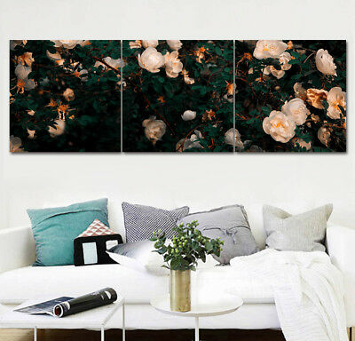 "Modern Canvas Painting Print Home Decor Wall Art White Bloom Flower 16x16""x3pc"