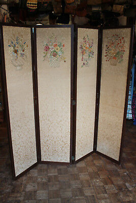 Antique four part folding screen room devider tapestry embriodered