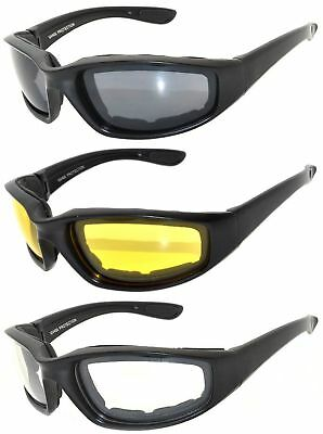 3 Pairs Black Motorcycle Padded Foam Glasses - Smoke, Yellow, Clear Lenses OWL