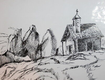 Landscape Monastery ink drawing signed