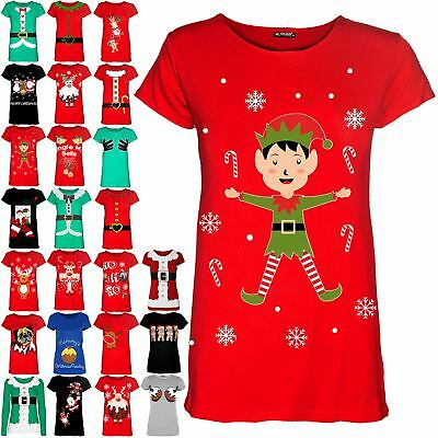Womens Ladies Elf Candystick Snowflakes Xmas Christmas Stretchy Tee T Shirt Top
