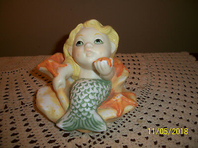 Vintage Bisque Mermaid Figure In Clam Shell