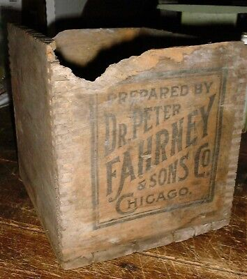 Antique Dr. Peter Fahrney WOODEN DOVETAIL MEDICINE  Box CHICAGO ILL.