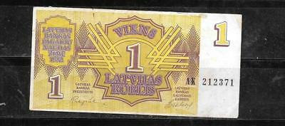 Latvia #35 1992 Rublis Vg Circ Old Banknote Paper Money Currency Bill Note