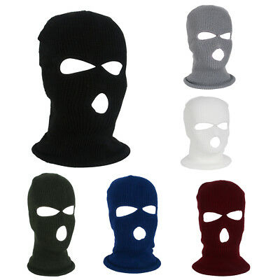 3 Hole Ski Mask Balaclava Black Knit Hat Face Winter Warmer Full Face