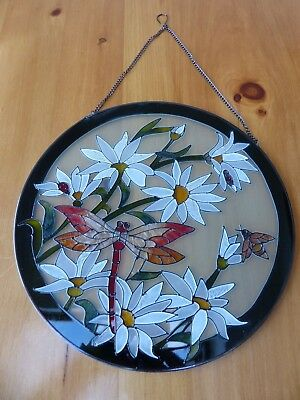 Large Hanging Hand painted Stained Glass Window panel of dragonfly and flowers