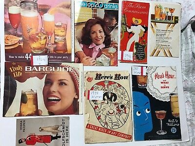 Barguides 8 Booklets Rum Mixers Vintage 1930- 1973 Preowned Liquor Drink Recipes