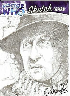 Dr Doctor Who Trilogy Sketch Card drawn by Cynthia Cummens of The 5th Doctor
