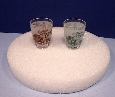 Pair of Vintage French Shot Glasses - Historic Scenes