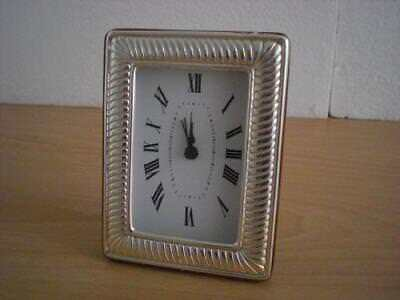 SOLID STERLING SILVER TABLE ALARM CLOCK 6×9 *1021 GB new