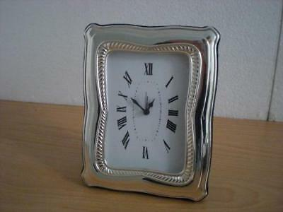 SOLID STERLING SILVER TABLE ALARM CLOCK 9×13*1031GB new