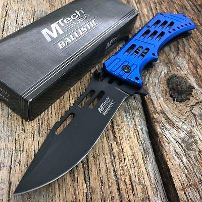 """9"""" MTECH USA BLUE SPRING ASSISTED TACTICAL FOLDING POCKET KNIFE Open Assist S"""