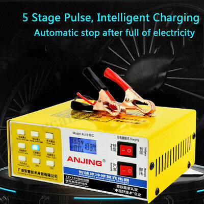 LCD Car Automatic Intelligent Pulse Repair 12V/24V 200 AH Type Battery Charger