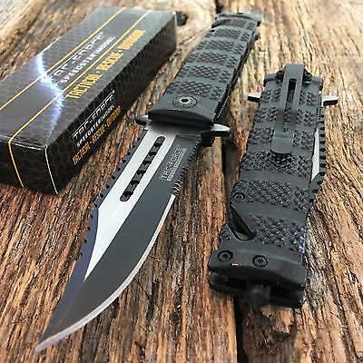 TACFORCE Black Spring Assisted Open SAWBACK BOWIE Tactical Rescue Pocket Knife s