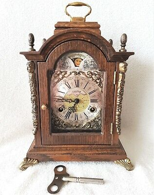 Warmink Mantel Clock Wubba Vintage Oak Moonphase Rare Engraved Movement Booklet