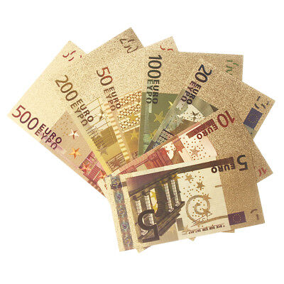 7Pcs Euro Banknote Gold Foil Paper Money Crafts Collection Bank Note