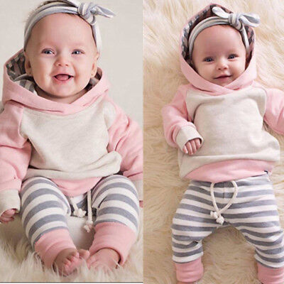 3PCS Set Baby Girls Toddler Winter Outfits Clothes Hoodie Tops+Pants+Headband