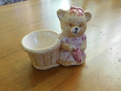 Egg Cup Vintage Pink Teddy Bear With A Basket