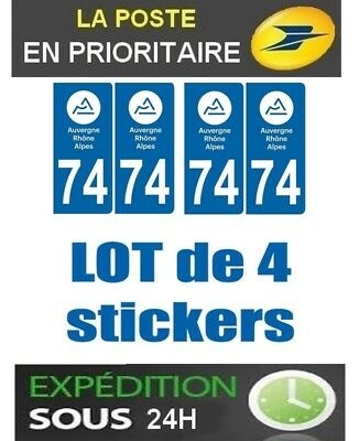 4 Stickers Plaque Auto Immatriculation Departement 74 Logo Auvergne Rhone Alpes
