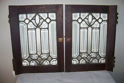 Antique Quartersawn Oak Mission Doors W Leaded Glass Old Cabinet Bookcase Set