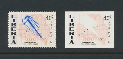 """LIBERIA 1956 OLYMPICS 40c """"IMPERF-BLUE OMITTED""""+NORMAL VF NH (SEE BELOW)"""