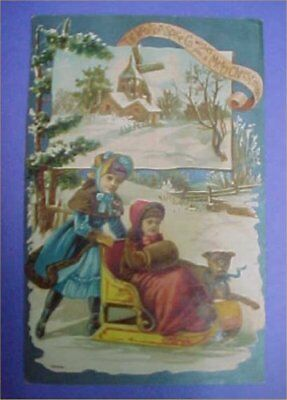 Victorian LION COFFEE Trade Card Woolson Spice Co Christmas Antique Vintage Kids