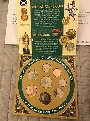 New 1999 United Kingdom Uncirculated Coin Collection Set Rugby Royal Mint