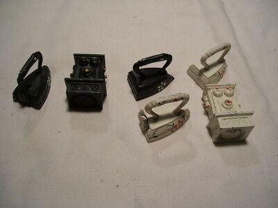 Lot of Vintage Toys Telephones and Clothes Irons Some is Cast Iron or Metal