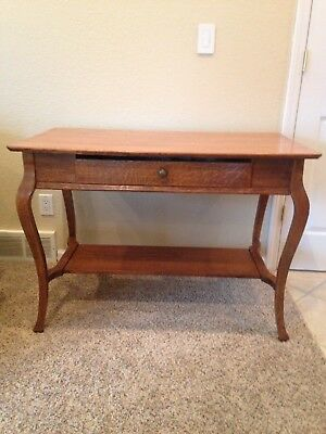 Antique Collectible Tiger Wood Table with Drawer