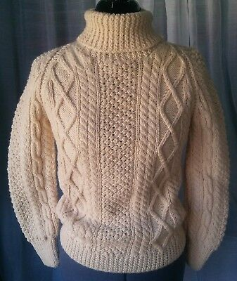 Vintage Hand Knit Cream Sweater Made in Ireland