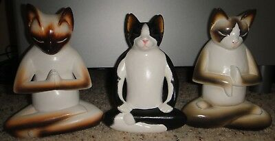 Set of 3 Wood Yoga Cat Figurines - Hand Painted from Novica - Signed by Artist