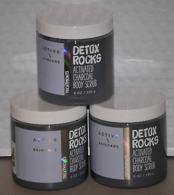 Bath & Body Works Detox Rocks Activated Charcoal Body Scrub   Set of 3