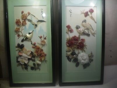 Pair Of Vintage Chinese Mother of pearl and shell 3D birds etc Pictures