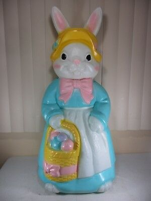 """Vtg Mrs. Bunny Rabbit Lighted Plastic Blow Mold Easter Lawn Decor 34"""" by EMPIRE"""