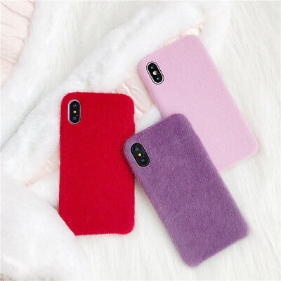 Cute Protective Pink Red Soft Fur Phone Case Cover For iPhone Xs Max XR 8 7 Plus