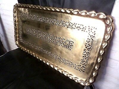 """Rare Large Vintage Solid Brass Indian Tray  21"""" x 41""""   Perforated"""