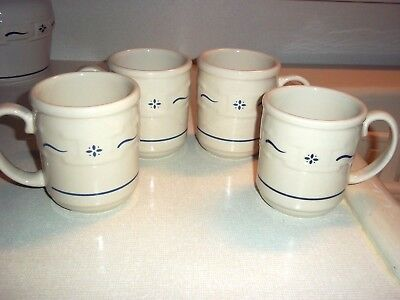 4 Longaberger Coffee Mugs, Blue Woven Traditions