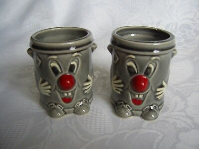 Retro Vintage Pair Of Dusty Bin Egg Cups - 3-2-1- Tv Show.