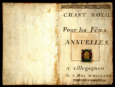 """Lovely Bifolium 1778 French Hymnal """"The Royal Chant For The Annual Celebrations"""""""
