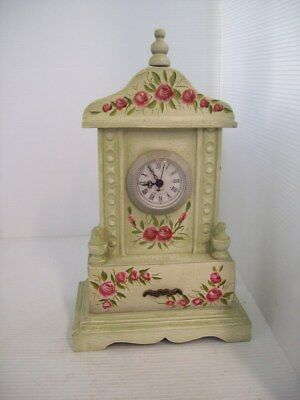 Wooden Floral Roses Mantel Clock with Quartz Movement and Storage Drawer M7