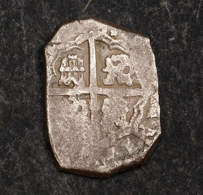 1612-1619, Kingdom of Spain, Philip III. Silver 2 Reales Cob Coin. Seville?