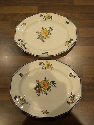"""Antique Royal Doulton Old Trentham Sprays Pair of 10"""" Oval Platters"""
