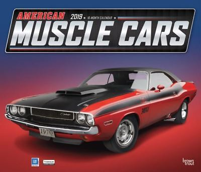2019 American Muscle Cars Wall Calendar 14x12 by BrownTrout Ford Chevy Dodge GM