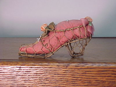 Unusual Antique Fancy Wire Shoe Pincushion