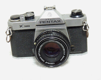 Vintage Pentax K1000 SLR 35mm Camera & SMC 1:2 50mm Lens Untested AS IS