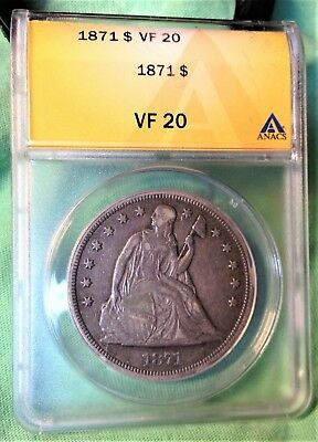 1871 Dollar $1 Coin Vf20 Seated Liberty Nice Strike Details Eye Appeal Original