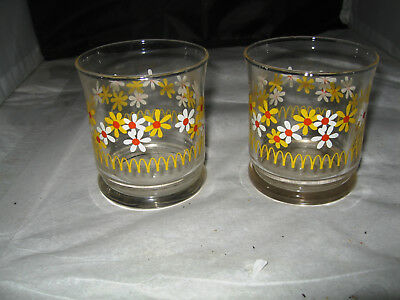 (2) Vintage McDonald juice glasses with daisy, daisies & golden arches