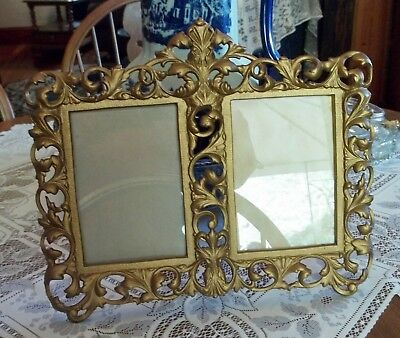 Vintage Metal Double Picture Frame